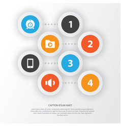 Multimedia icons set collection of broadcast vector