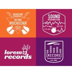 music production logos set Musical label vector image