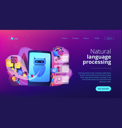 Natural language processing concept landing page vector