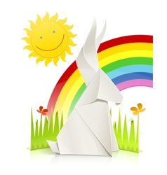 Nature scene with rabbit made vector