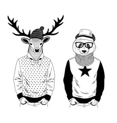 Nordic deer and chinese bear panda friendly couple vector