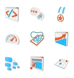 Optimization icons set cartoon style vector