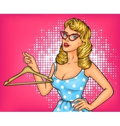 pop art girl with hanger vector image