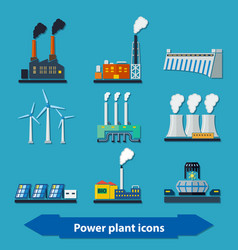 power plant icons flat vector image