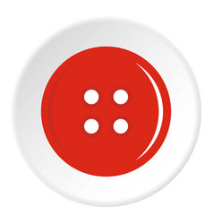 Red sewing button icon circle vector