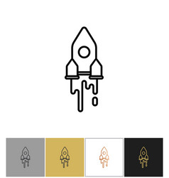 rocket icon spaceship silhouette futuristic vector image