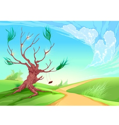 Romantic landscape with tree vector
