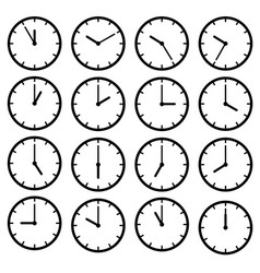 set icon black clock face vector image
