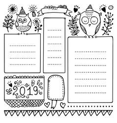 set of bullet journal doodle christmas elements vector image