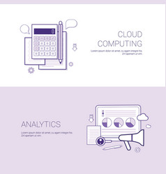 set of cloud computing and analytics banners vector image