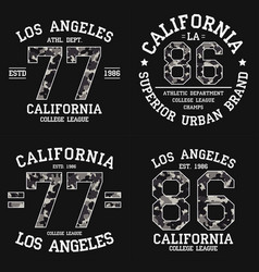 Set of los angeles graphic design for t-shirt vector