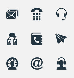 set simple connect icons vector image