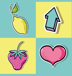 set tropical patches fruit design vector image