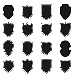 shield shape icons set black label signs isolated vector image