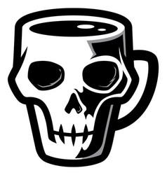 Skull coffee mug vector