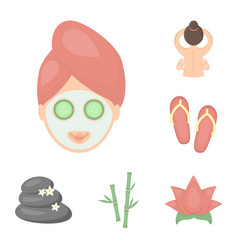spa salon and equipment cartoon icons in set vector image