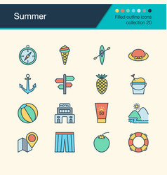 summer icons filled outline design collection 20 vector image