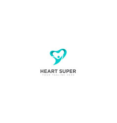 super hero and heart abstract logo vector image