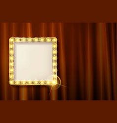 Suspended gold frame on the red curtain vector