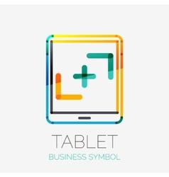 Tablet screen icon company logo business concept vector image
