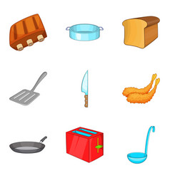Toast icons set cartoon style vector