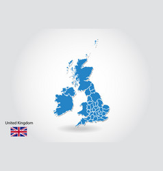 united kingdom map design with 3d style blue uk vector image