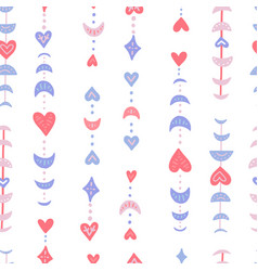 Valentine s heart and moon phases seamless pattern vector