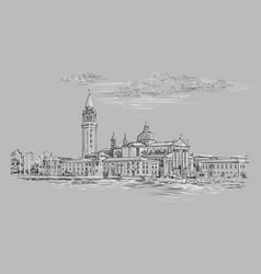 Venice hand drawing panorama gray vector