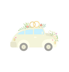 Vintage car decorated with rings and flowers vector