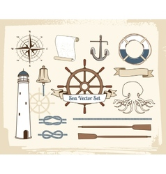 Vintage nautical decoration set vector image