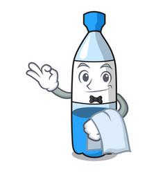 waiter water bottle mascot cartoon vector image