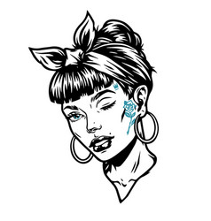 winking woman head with tattoos vector image