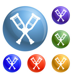 wood crutches icons set vector image