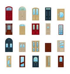 wood or wooden facade exterior doors icons vector image