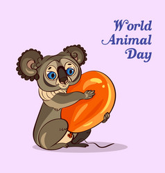 world animal day koala concept background cartoon vector image