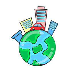 World with building environment doodles vector