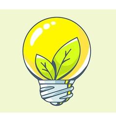 yellow lightbulb with green leaf inside o vector image