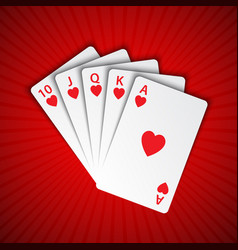 a royal flush of hearts on red background winning vector image