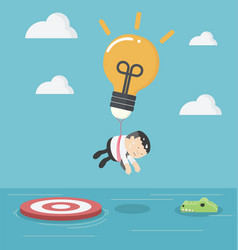 businessman with a light bulb parachute is flying vector image