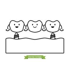 dental bridge - cartoon outline style vector image vector image