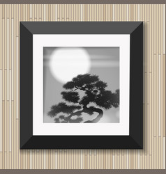 japanese painting graphic art in frame with pine vector image vector image