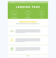 landing page concept flat website design template vector image