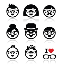 People wearing glasses geeks icons set vector image