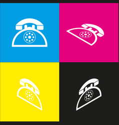 retro telephone sign white icon with vector image vector image