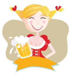 Bavarian woman with beer vector image vector image