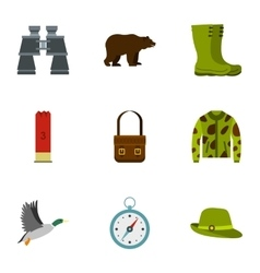 Bird hunting icons set flat style vector image vector image