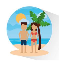 couple in the beach palm sea sun landscape vector image