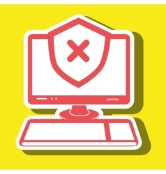 pc laptop virus icon vector image vector image
