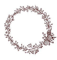 round frame of leaves isolated on white background vector image vector image