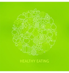 Thin Line Healthy Eating Icons Set Circle Concept vector image vector image